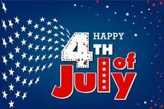 4to feliz del Día de la Independencia de julio los E.E.U.U. stock de ilustración