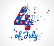 4to feliz del fondo del vector de la tarjeta de felicitación de julio stock de ilustración