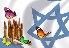 To fight and to revive. Cartridges and colorful beautiful butterflies with Israeli national flag waving in the blur background Stock Photos
