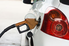 To fill the machine with fuel. Car fill with gasoline at a gas station. Gas station pump.Car gas fill up royalty free stock image