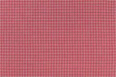 Tło fotografia tkanina z sprawdzać czerwonym Gingham wzorem Fotografia Stock