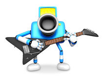 To the front toward the blue Camera Character playing the guitar Stock Images