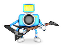 To the front toward the blue Camera Character playing the guitar Royalty Free Stock Photography