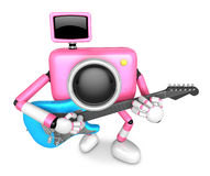 To the front toward the pink Camera Character playing the guitar Stock Images