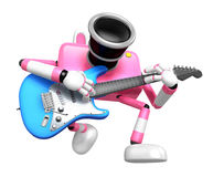 To the front toward the pink Camera Character playing the guitar Royalty Free Stock Photography
