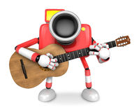 To the front toward the red Camera Character playing the guitar. Royalty Free Stock Images