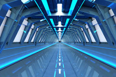 To the gate. A futuristic tunnel interior. 3D rendered Illustration Royalty Free Stock Photography