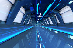 To the gate. A futuristic tunnel interior. 3D rendered Illustration.r Stock Photos