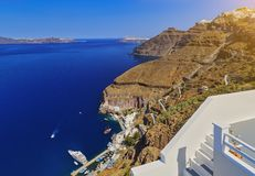 To get from Santorini old port to Fira you have two transfer options, cable car or donkey ride. Santorini classically Thera and royalty free stock image