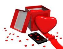 To gift your heart,phone. Gift your heart,phone,red Stock Photography