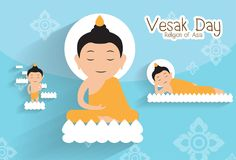 To give birth and  Enlighten and  nirvana.Vesak day.Buddha on the lotus Vector. Illustration Stock Photo