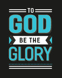 To God Be the Glory. Gospel Hymn Lyrics Vector Poster with vintage style typography and design ornaments in tiel, and white on black background stock illustration
