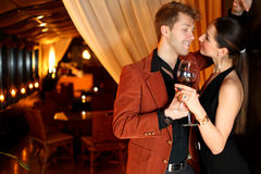 To good girl flirting man with a glass of wine Royalty Free Stock Photography