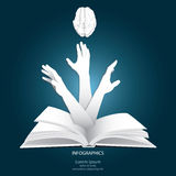 To Grab Knowledge With Paper Graphics Style Stock Photo
