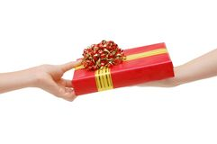 To hand a gift Royalty Free Stock Image