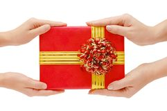 To hand a gift Royalty Free Stock Photo