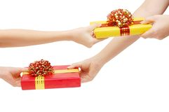 To hand a gift Stock Photography