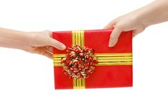 To hand a gift Stock Photos
