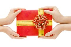 To hand a gift Stock Photo