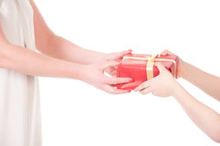 To hand a gift isolated on white Stock Photos