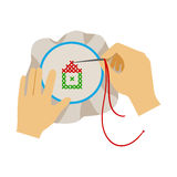 To Hands Doing Cross-Stitching Needlework, Elementary School Art Class Vector Illustration Stock Photo