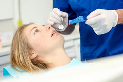 About to have teeth moulded. About to have her teeth moulded Stock Photos