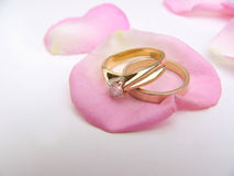 To have and to hold #2. Wedding rings on a rose petal stock photography