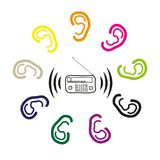 To hear with the ears of the radio signal. For advertising radio stations stock illustration