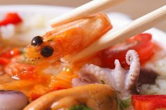 To hold an shrimp by means of chopsticks macro Stock Image