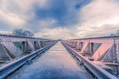 To the horizon. Old railroad bridge in Den Bosch, Netherlands Stock Images