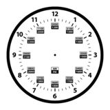 12 to 24 Hour Military Time Clock Conversion Template Isolated Vector Illustration. Simple to read 12 to 24 hour military clock time conversion isolated vector vector illustration