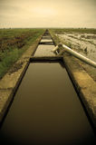 To Infinity. A water irigation system at a paddy field Stock Photo