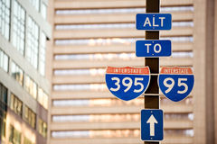 To Interstate 95. I-95 and I-395 road signs in downtown Baltimore, USA Royalty Free Stock Photo