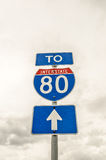 To Interstate 80 Sign Royalty Free Stock Photo