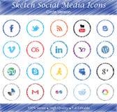 Nakreślenie Ogólnospołeczne Medialne odznaki - okrąg wersja Obrazy Stock