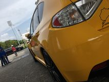 To jest Żółty Subaru STI samochód Zdjęcia Royalty Free