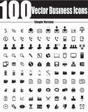 100 Wektorowych Biznesowych ikon - Prosta wersja Obrazy Stock