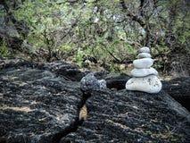 To jest rockowy kopiec robić biały koralowy obsiadanie na lawy skale w Maui blisko Kihei w Ahihi-Kinau terenu Naturalnej rezerwie Fotografia Royalty Free