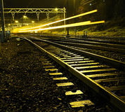 To late. A train passing (leaving the station Stock Photos