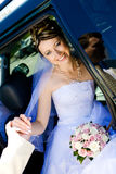 To leave a car. Groom helps to bride to leave a car stock image
