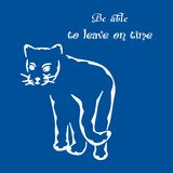 To leave on time. Illustration of a white silhouette of a cat and good advice Royalty Free Stock Image