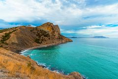 Panoramic view of the Black Sea and the mountains from the Golitsyn trail, winter day, Novy Svet, Sudak, Crimea, Russia stock image