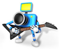 To the Left toward the Blue Camera Character playing the guitar. Royalty Free Stock Photography
