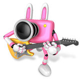 To the left toward the Pink Camera Character playing the guitar. Stock Photo