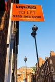 To let sign for students, Nottingham. Stock Photography