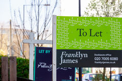 To Let signs outside a English townhouse Stock Photography