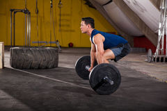 About to lift a heavy barbell Stock Image