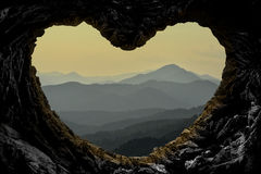 To look at the mountain range from cave. Taurus Mountains altitude 2800 meters Royalty Free Stock Photos