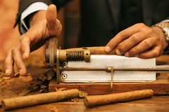 To make a cigar with his hands, sheets for a cigar, handwork.  Stock Image