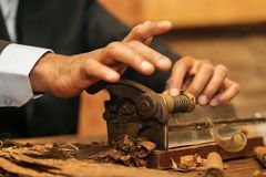 To make a cigar with his hands, sheets for a cigar, handwork.  Stock Photos